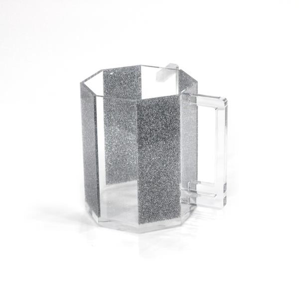 Waterdale Collection: Lucite Hexagon Wash Cup - Silver Glitter