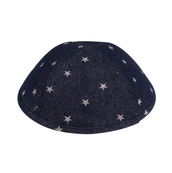 iKippah - Black Denim With Silver Stars