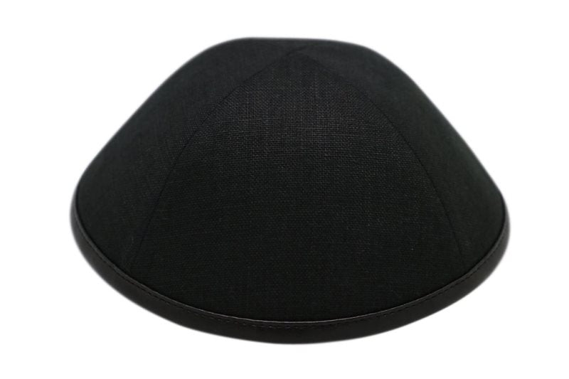 iKippah - Black Linen With Leather Rim