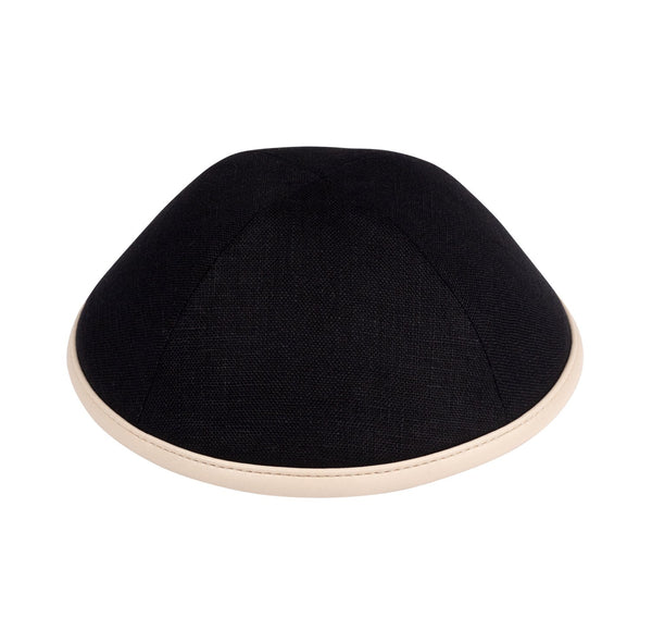 iKippah - Black Linen With Tan Leather Rim