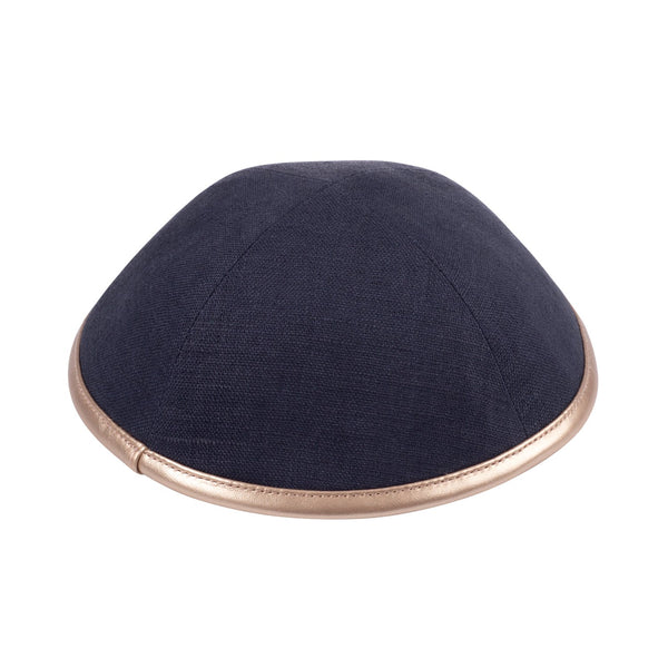 iKippah - Charcoal Linen With Rose Gold Leather Rim