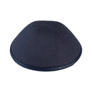 iKippah - Charcoal Linen With Leather Rim