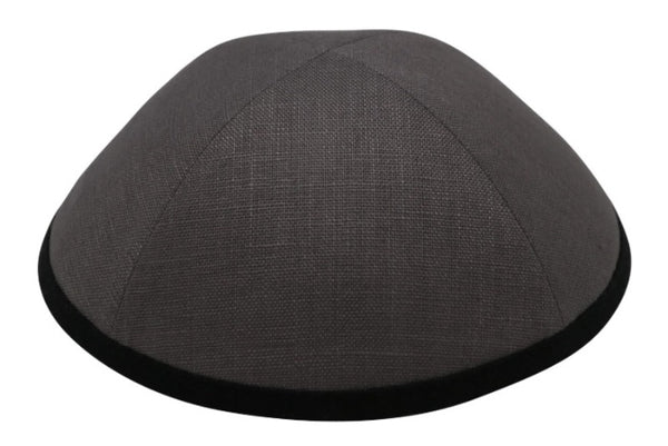 iKippah - Grey Linen With Black Rim