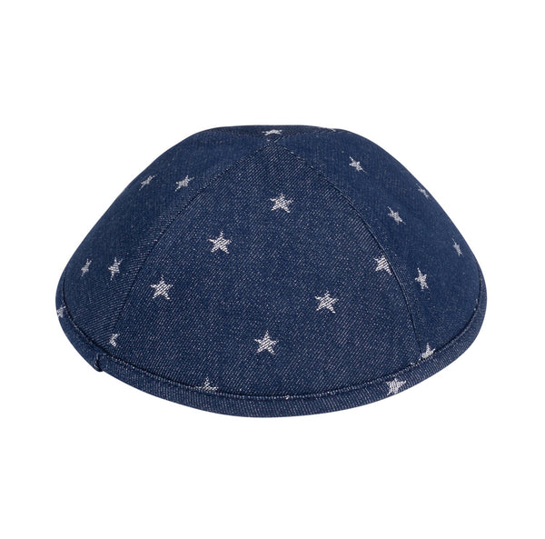 iKippah - Navy Denim With Silver Stars