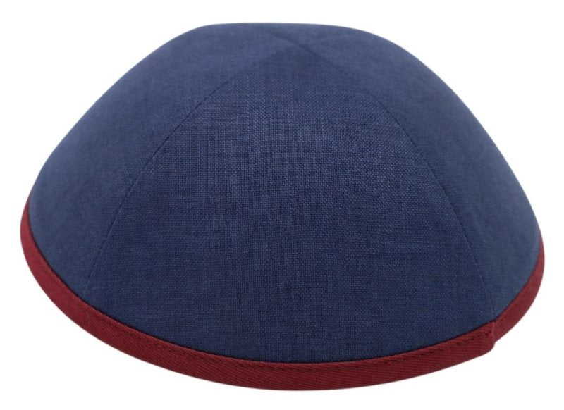 iKippah - Navy Linen With Maroon Rim