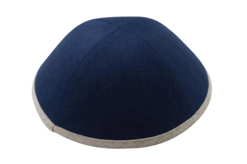 iKippah - Navy Linen With Tan Rim
