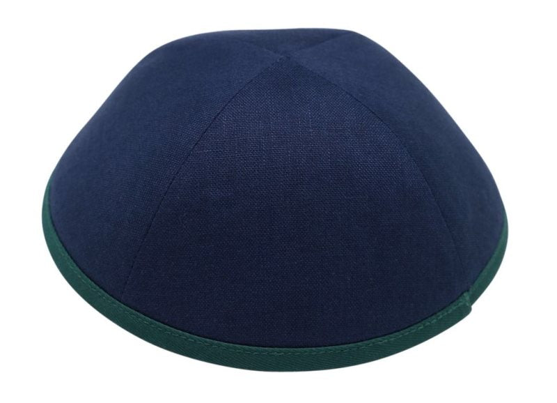 iKippah - Navy With Green Rim