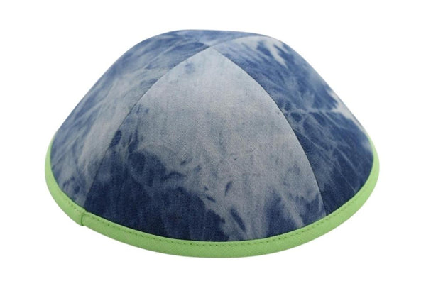 iKippah - Tie Dye Denim With Neon Green Rim