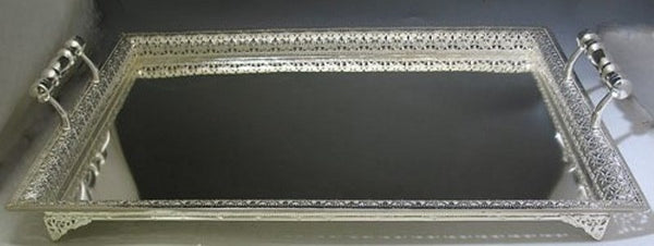 Candlestick Tray: Silver Plated Large