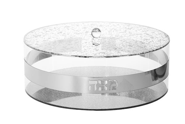 Matzah Box: Lucite - Silver Base