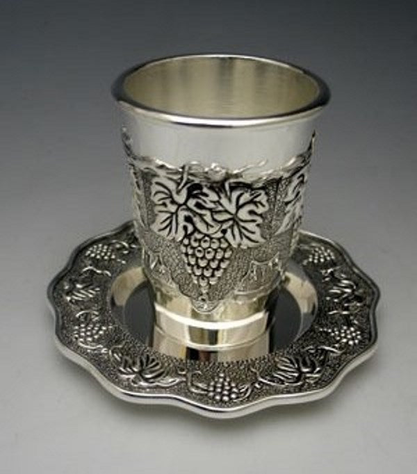 Kiddush Cup & Tray: Grape Design Silver Plated