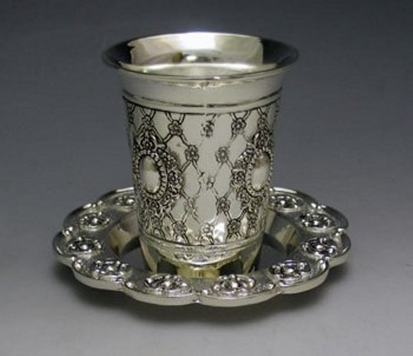 Kiddush Cup With Tray: Silver Plated