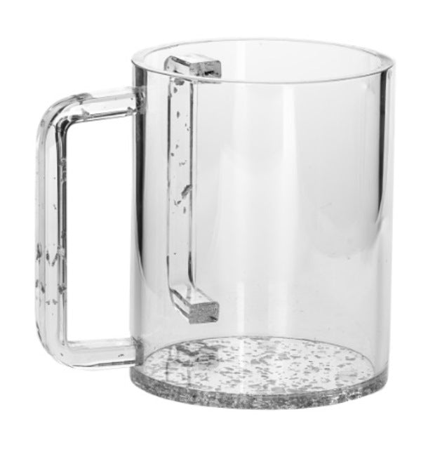 Wash Cup: Lucite Sparkle Base And Handle - Silver