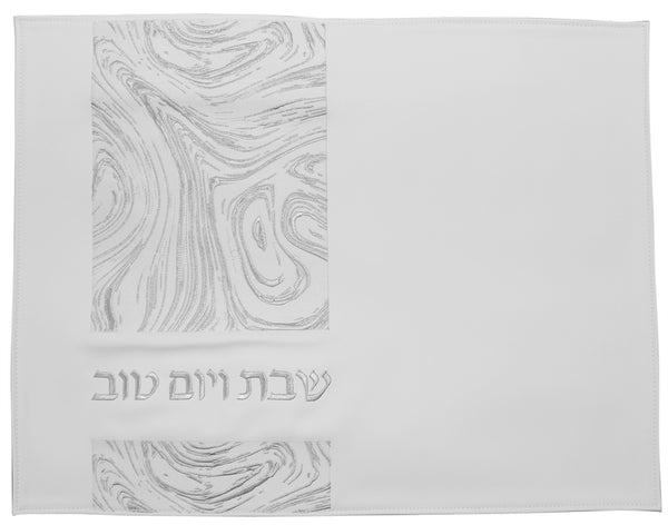 Challah Cover: Vinyl Silver Side Line Design - Silver