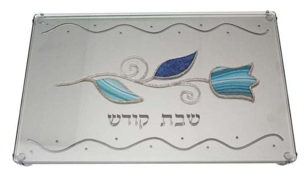 Shabbos Tray: Laser Cut Glass Tulip Design - Blue