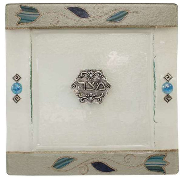 Matzah Tray: Glass - Blue