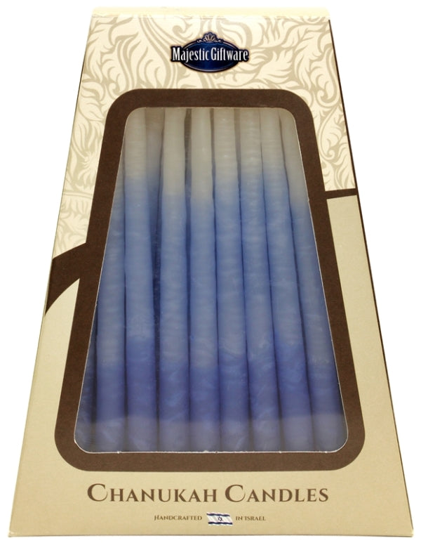Chanukah Candles: 45 Israeli Wax Candles - Blue & White