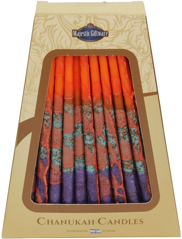 Chanukah Candles: 45 Israeli Wax Candles - Orange & Purple