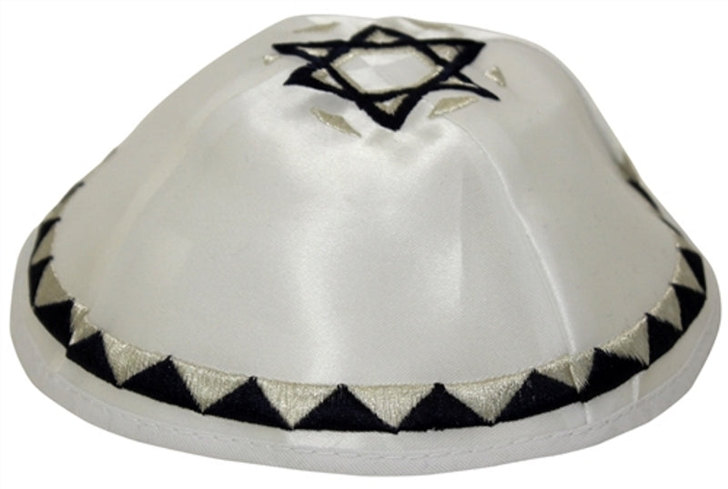 Majestic Giftware - White Satin With Blue & Silver Embroidery & Star of David, 20 - 21cm