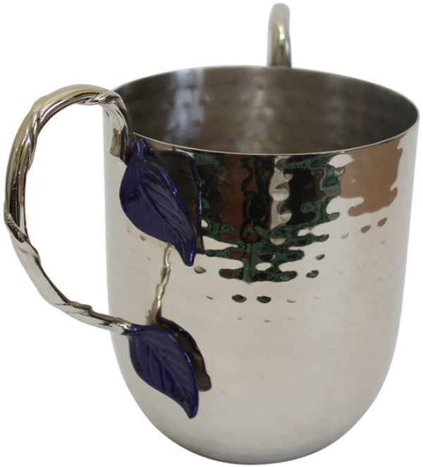 Wash Cup: Stainless Steel Hammered Blue Leaf