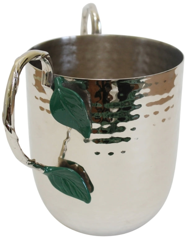Wash Cup: Stainless Steel Hammered Green Leaf
