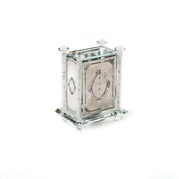 Tzedakah Box: Crystal With Metal Plate
