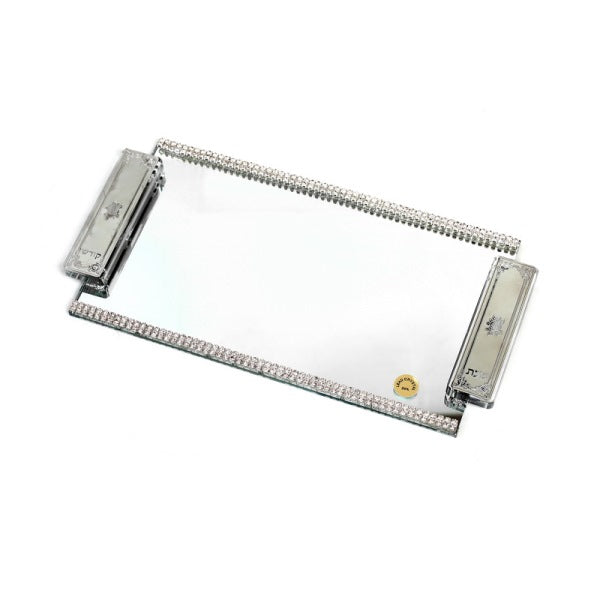 Candlestick Tray: Mirror With Silver Accented Handles And Stone Trim