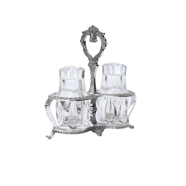 Salt & Pepper Shaker Set: Silver Plated Filigree