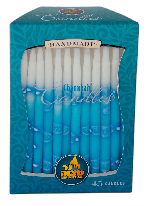 45 Pk. Blue & White Decorated Chanukah Candle
