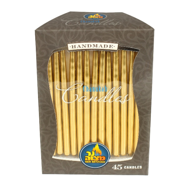 45 Pk. Gold Metallic Chanukah Candle