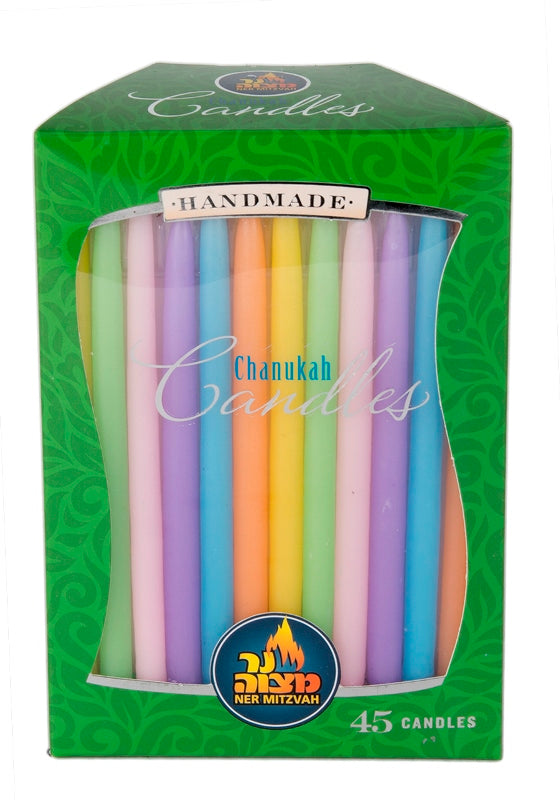 45 Pk. Multi Color Pastel Chanukah Candle