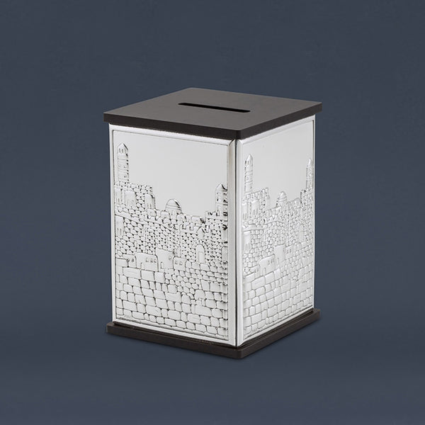 Tzedaka Box: Wood & Silver Plated Jerusalem Design