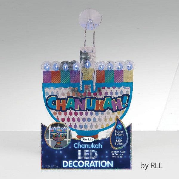 Chanukah Led Decoration: Suction Cup & Battery Included
