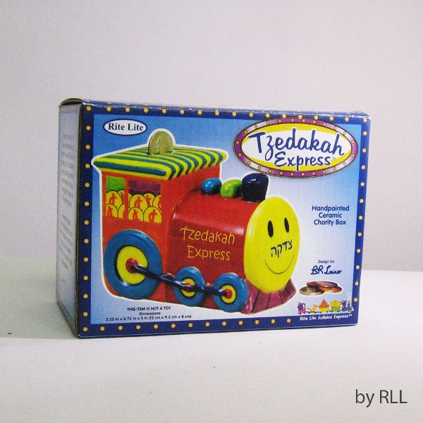 Tzedakah Express: Handpainted Ceramic Tzedakah Box
