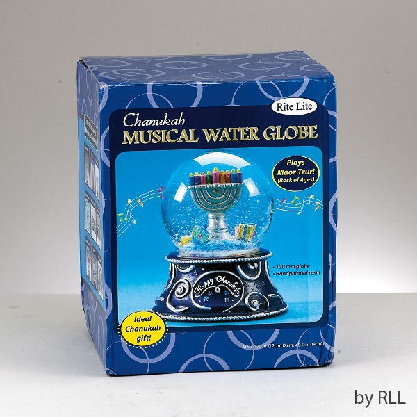 Chanukah Musical Water Globe: Plays Maoz Tzur! (Rock of Ages)