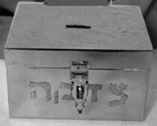 Tzedaka Box For Shul: Chrome Plated - Square
