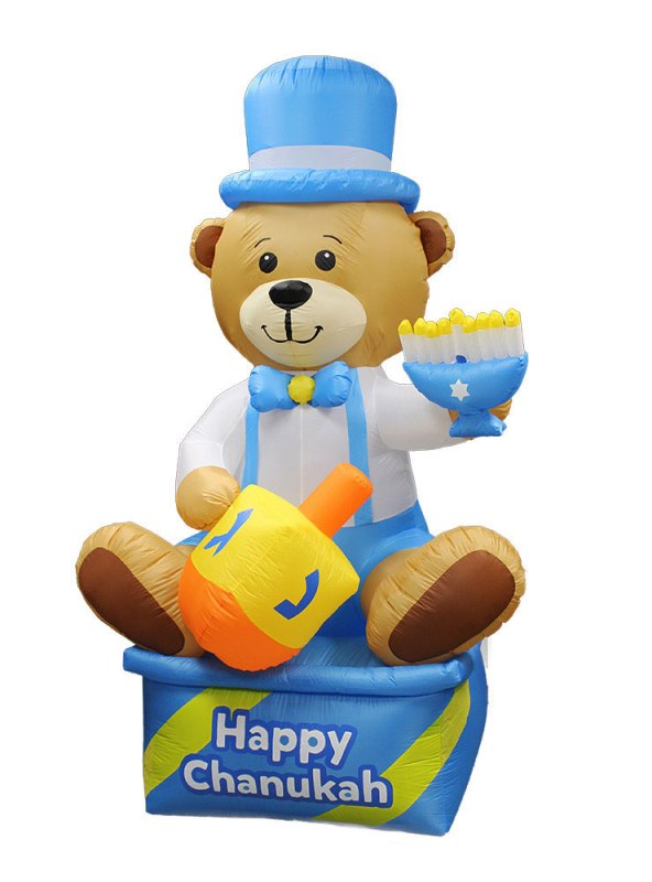 Inflatable Lawn Chanukah Themed Bear - 8' Tall