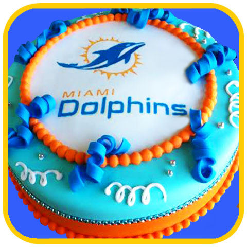 Miami Dolphins Cake - The Office Cake Delivery Miami - Cake w/ Upsell