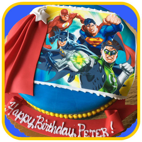 DC Super Heroes Cake - The Office Cake Delivery Miami - Cakes
