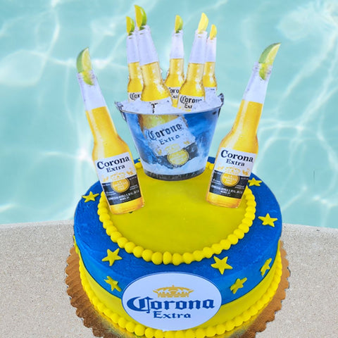 Beer Cake with Card Stock Cake Toppers