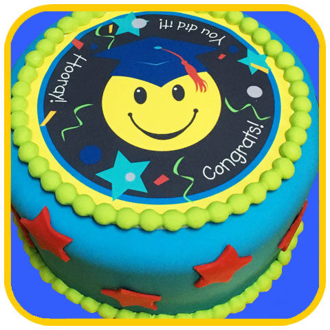 Happy Graduation Cake Blue - The Office Cake Delivery Miami - Cakes