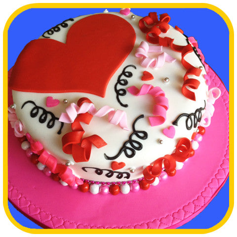 Hearts and Ribbons - The Office Cake Delivery Miami - Cakes