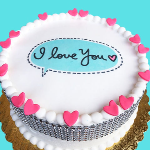 I love you message bubble cake