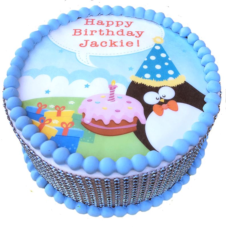 Peachy Penguin Birthday Cake The Office Cake Funny Birthday Cards Online Overcheapnameinfo