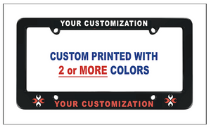 custom printed license plate frames in 2 colors