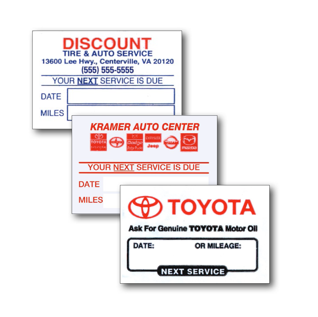 Oil Change Clear Static Cling Write In Stickers 2 X 1