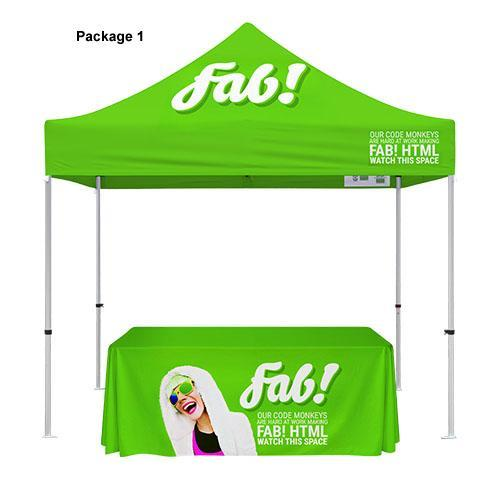 Custom Printed 10'x10' Tent + Table Cover Bundle