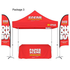 Custom Printed 10x10 Tent + Table Cover + Flag Banners Bundle
