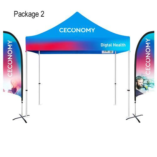 Custom Printed 10'x10' Tent + Flag Banners Bundle