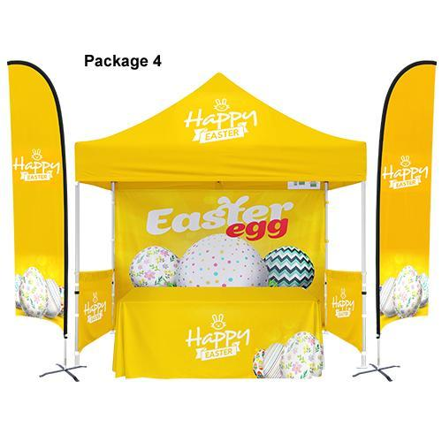 Custom Printed 10x10 Tent With Walls + Table Cover + Flag Banners Bundle